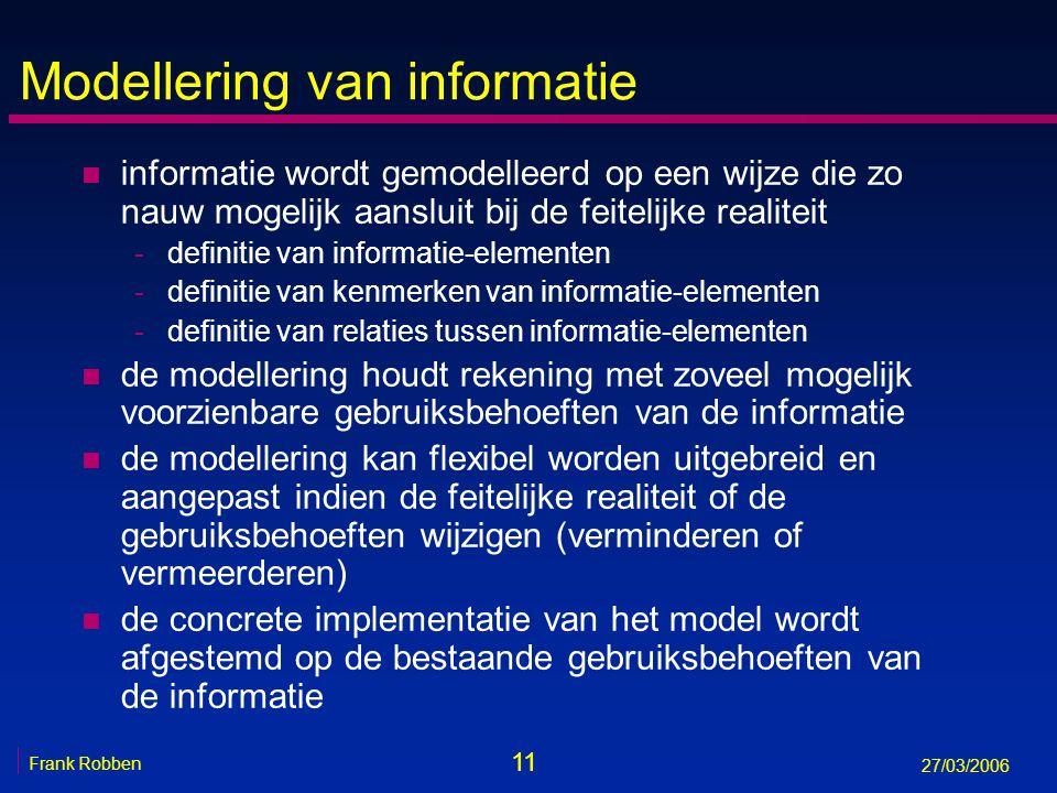 11 Frank Robben 27/03/2006 Modellering van informatie n informatie wordt gemodelleerd op een wijze die zo nauw mogelijk aansluit bij de feitelijke rea