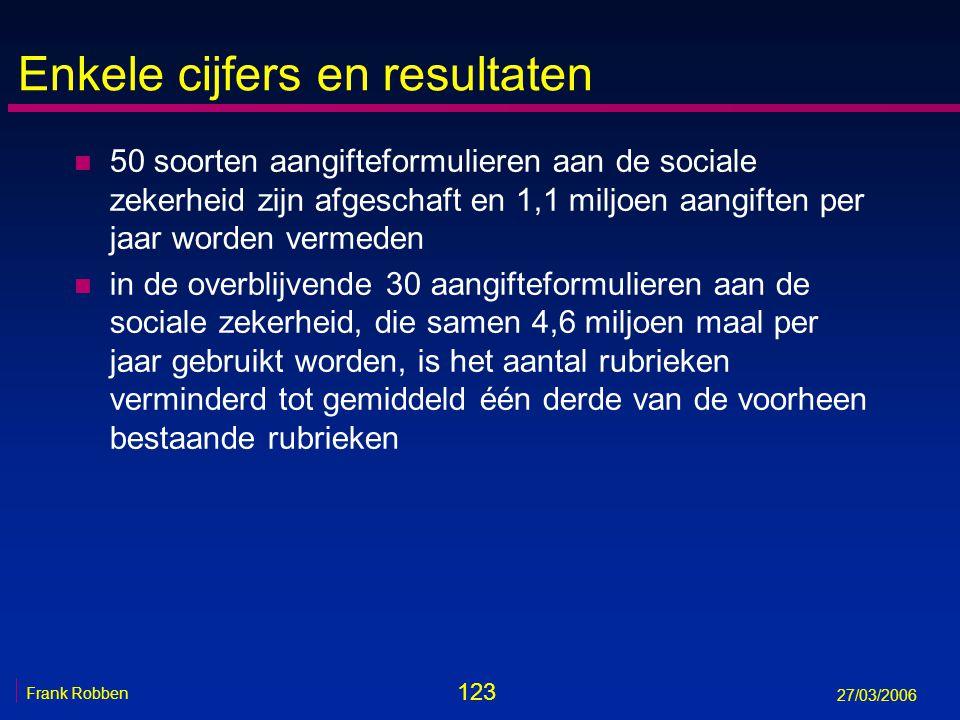 123 Frank Robben 27/03/2006 Enkele cijfers en resultaten n 50 soorten aangifteformulieren aan de sociale zekerheid zijn afgeschaft en 1,1 miljoen aang
