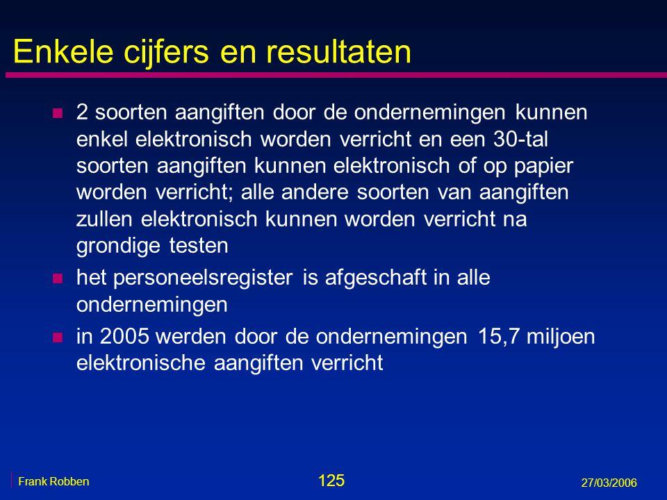 125 Frank Robben 27/03/2006 Enkele cijfers en resultaten n 2 soorten aangiften door de ondernemingen kunnen enkel elektronisch worden verricht en een