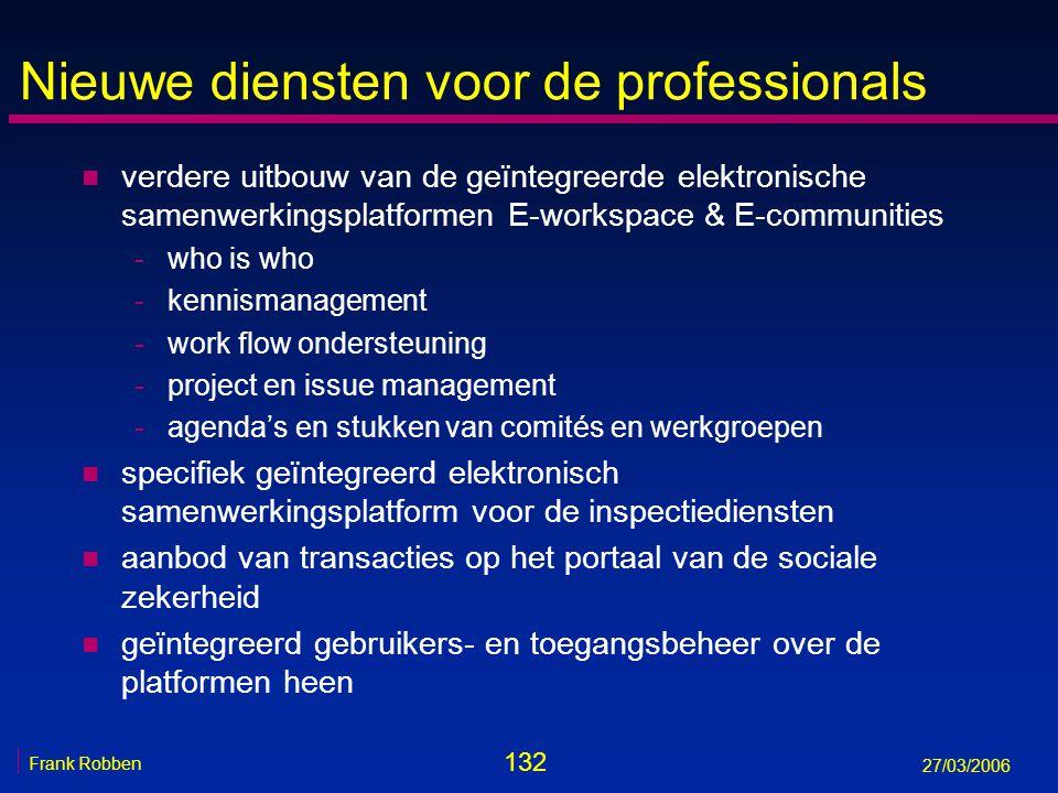 132 Frank Robben 27/03/2006 Nieuwe diensten voor de professionals n verdere uitbouw van de geïntegreerde elektronische samenwerkingsplatformen E-works