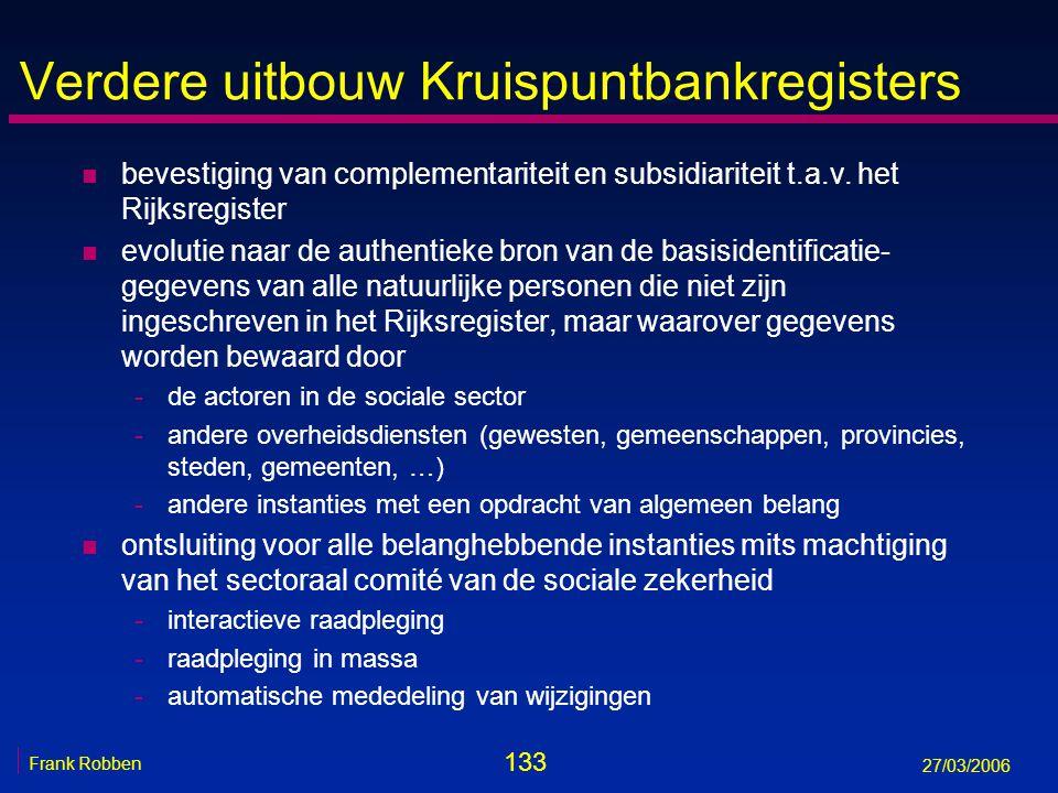 133 Frank Robben 27/03/2006 Verdere uitbouw Kruispuntbankregisters n bevestiging van complementariteit en subsidiariteit t.a.v. het Rijksregister n ev