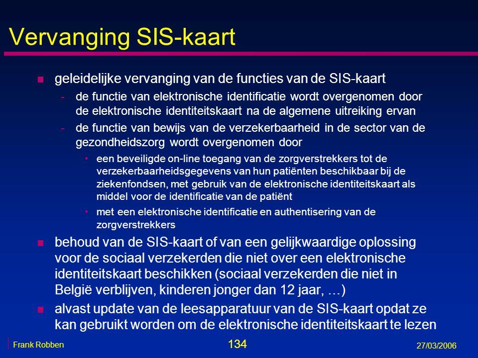 134 Frank Robben 27/03/2006 Vervanging SIS-kaart n geleidelijke vervanging van de functies van de SIS-kaart -de functie van elektronische identificati