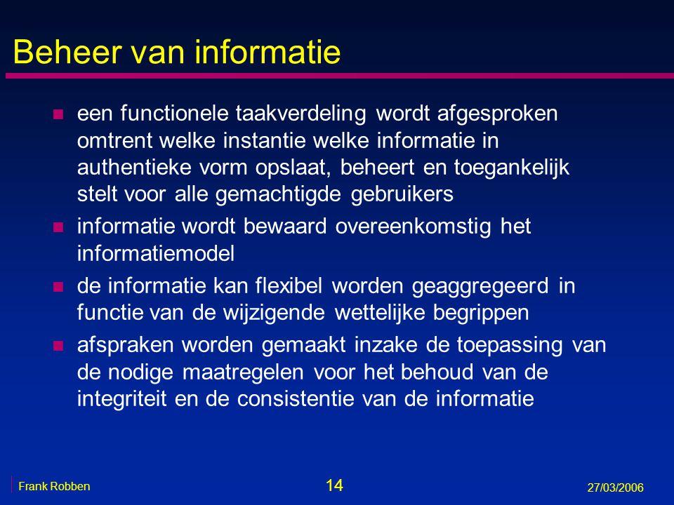 14 Frank Robben 27/03/2006 Beheer van informatie n een functionele taakverdeling wordt afgesproken omtrent welke instantie welke informatie in authent
