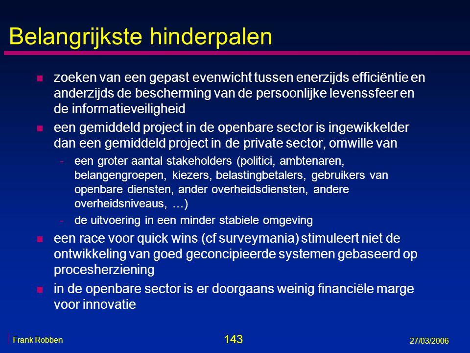 143 Frank Robben 27/03/2006 Belangrijkste hinderpalen n zoeken van een gepast evenwicht tussen enerzijds efficiëntie en anderzijds de bescherming van