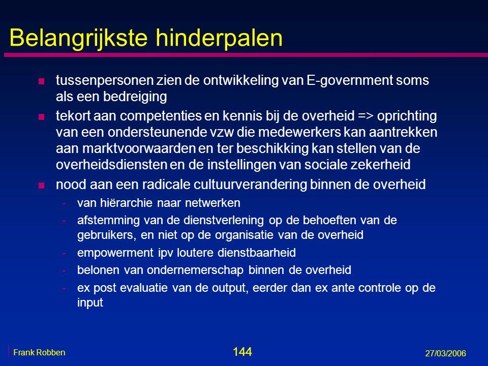 144 Frank Robben 27/03/2006 Belangrijkste hinderpalen n tussenpersonen zien de ontwikkeling van E-government soms als een bedreiging n tekort aan comp