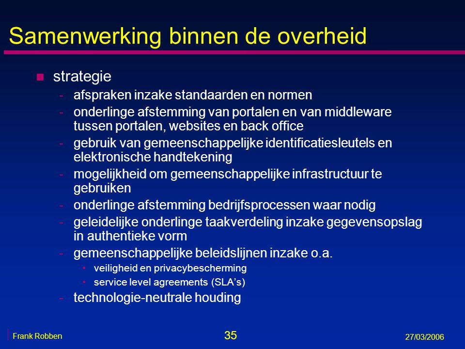 35 Frank Robben 27/03/2006 Samenwerking binnen de overheid n strategie -afspraken inzake standaarden en normen -onderlinge afstemming van portalen en