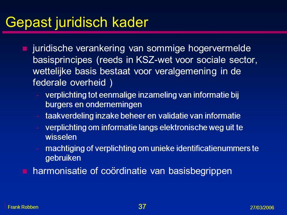 37 Frank Robben 27/03/2006 Gepast juridisch kader n juridische verankering van sommige hogervermelde basisprincipes (reeds in KSZ-wet voor sociale sec