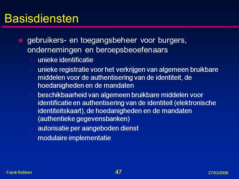 47 Frank Robben 27/03/2006 Basisdiensten n gebruikers- en toegangsbeheer voor burgers, ondernemingen en beroepsbeoefenaars -unieke identificatie -unie