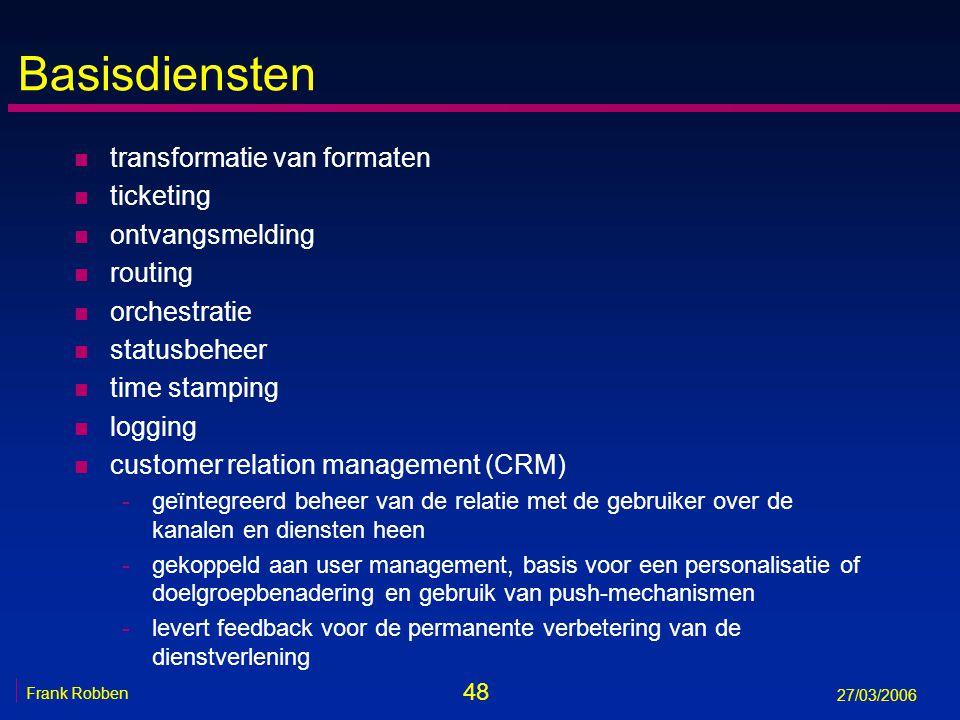 48 Frank Robben 27/03/2006 Basisdiensten n transformatie van formaten n ticketing n ontvangsmelding n routing n orchestratie n statusbeheer n time sta