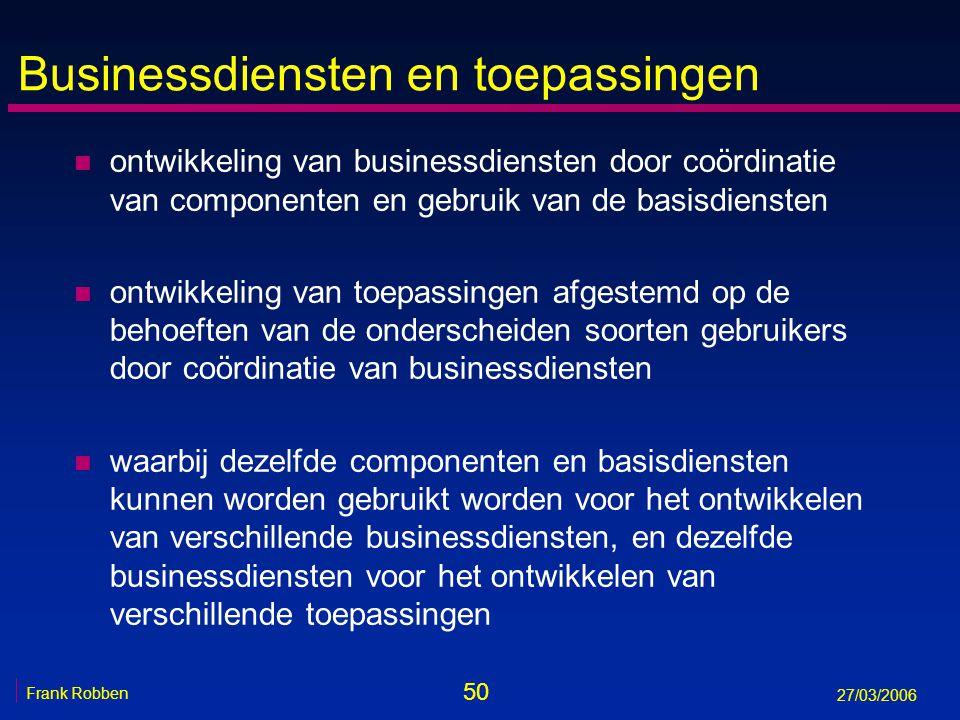 50 Frank Robben 27/03/2006 Businessdiensten en toepassingen n ontwikkeling van businessdiensten door coördinatie van componenten en gebruik van de bas