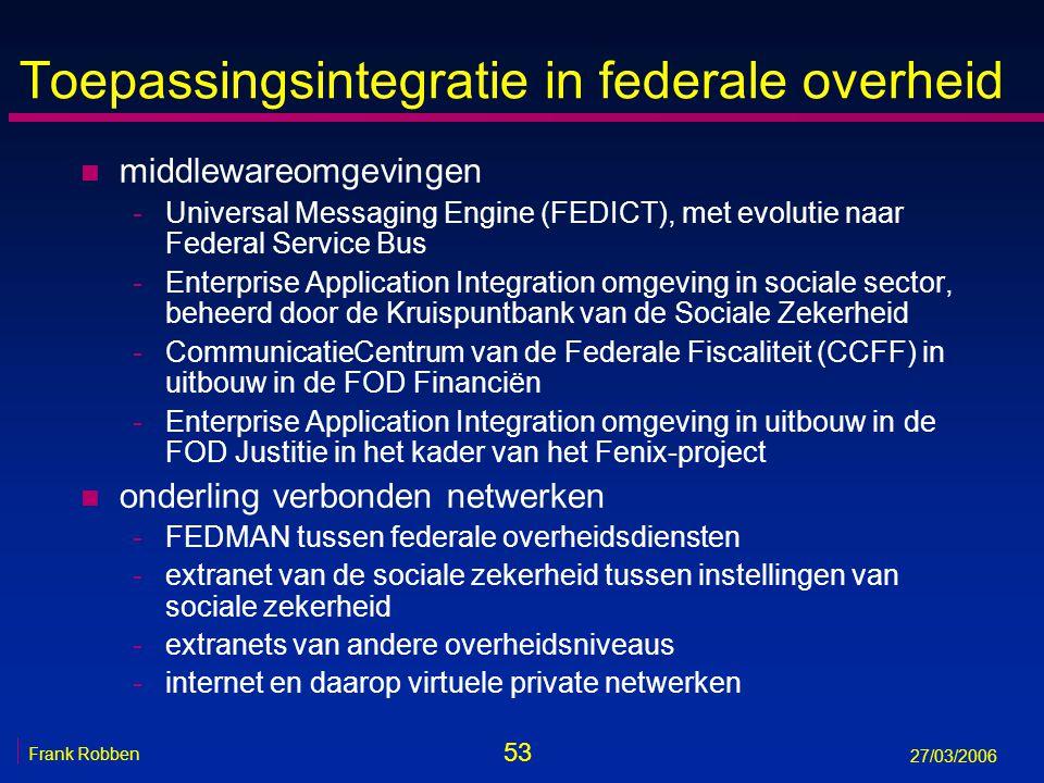 53 Frank Robben 27/03/2006 Toepassingsintegratie in federale overheid n middlewareomgevingen -Universal Messaging Engine (FEDICT), met evolutie naar F
