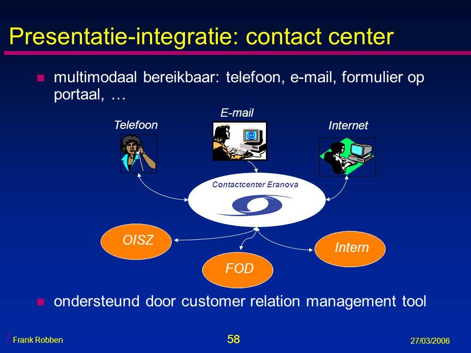 58 Frank Robben 27/03/2006 Presentatie-integratie: contact center n multimodaal bereikbaar: telefoon, e-mail, formulier op portaal, … n ondersteund do