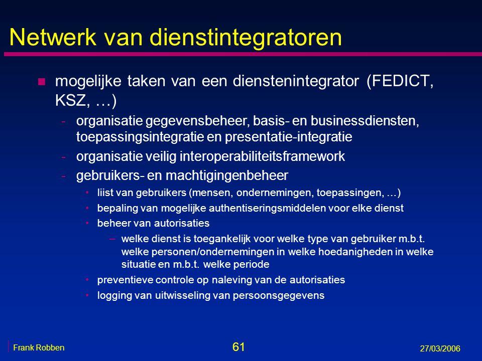 61 Frank Robben 27/03/2006 Netwerk van dienstintegratoren n mogelijke taken van een dienstenintegrator (FEDICT, KSZ, …) -organisatie gegevensbeheer, b