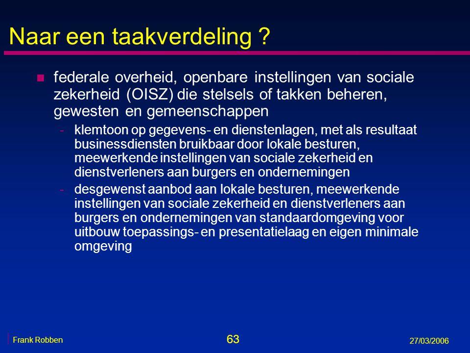 63 Frank Robben 27/03/2006 Naar een taakverdeling ? n federale overheid, openbare instellingen van sociale zekerheid (OISZ) die stelsels of takken beh