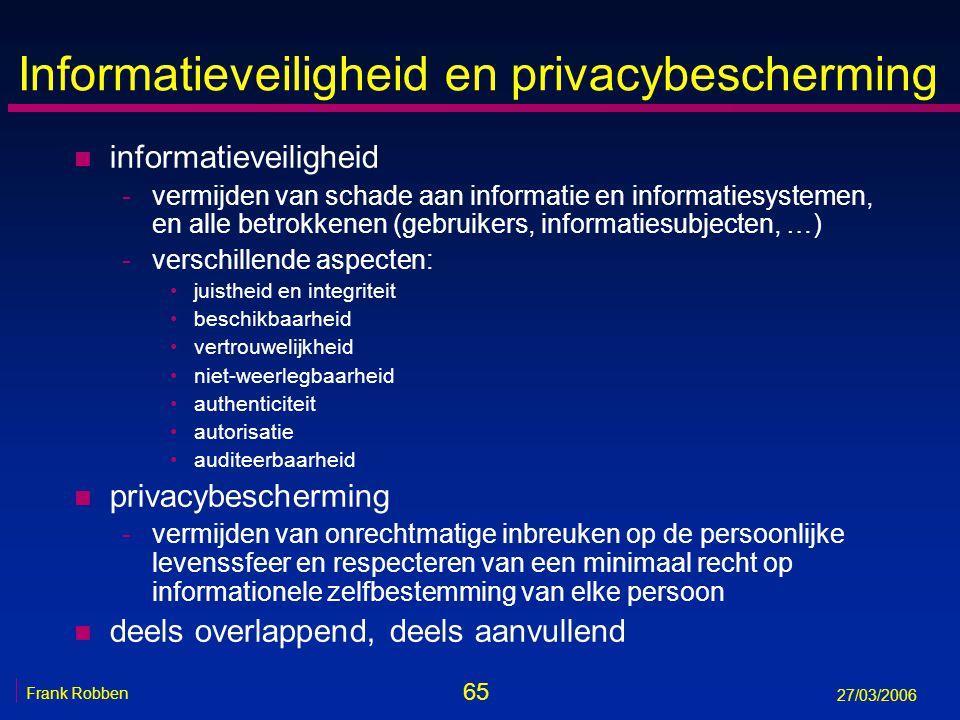65 Frank Robben 27/03/2006 Informatieveiligheid en privacybescherming n informatieveiligheid -vermijden van schade aan informatie en informatiesysteme