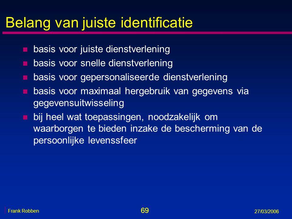 69 Frank Robben 27/03/2006 Belang van juiste identificatie n basis voor juiste dienstverlening n basis voor snelle dienstverlening n basis voor gepers