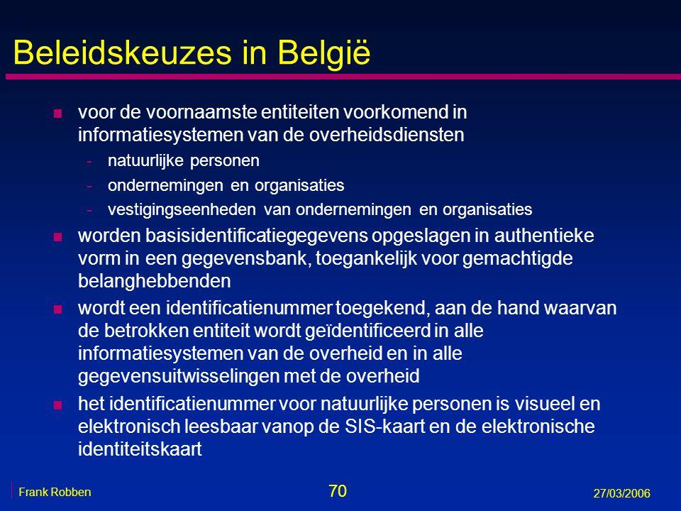 70 Frank Robben 27/03/2006 Beleidskeuzes in België n voor de voornaamste entiteiten voorkomend in informatiesystemen van de overheidsdiensten -natuurl