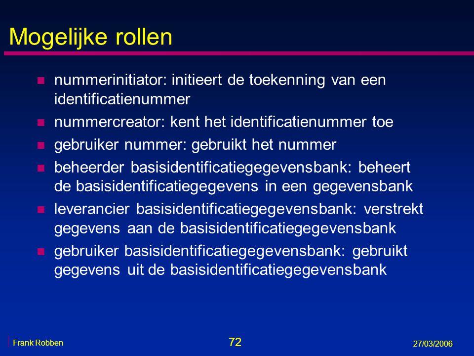 72 Frank Robben 27/03/2006 Mogelijke rollen n nummerinitiator: initieert de toekenning van een identificatienummer n nummercreator: kent het identific