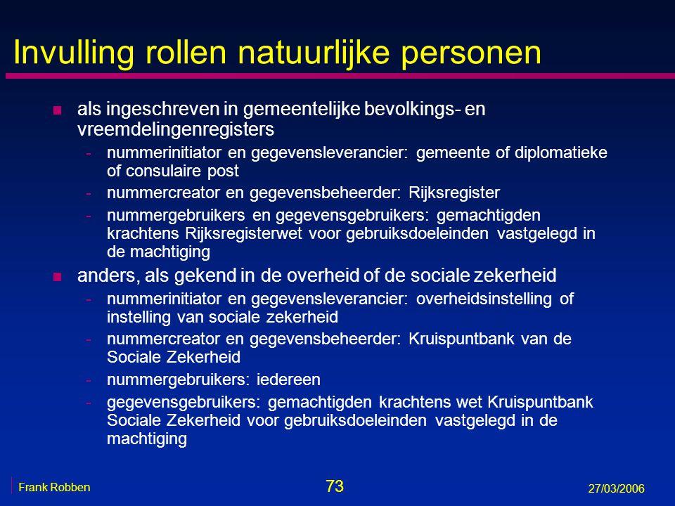 73 Frank Robben 27/03/2006 Invulling rollen natuurlijke personen n als ingeschreven in gemeentelijke bevolkings- en vreemdelingenregisters -nummerinit