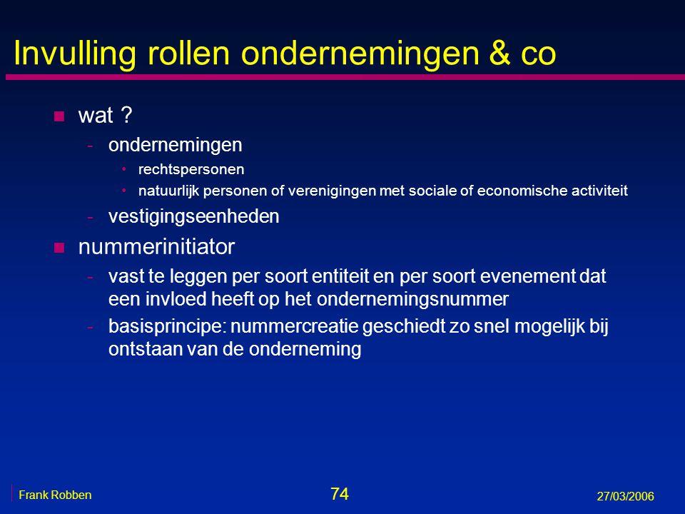 74 Frank Robben 27/03/2006 Invulling rollen ondernemingen & co n wat ? -ondernemingen rechtspersonen natuurlijk personen of verenigingen met sociale o