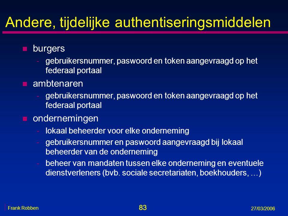 83 Frank Robben 27/03/2006 Andere, tijdelijke authentiseringsmiddelen n burgers -gebruikersnummer, paswoord en token aangevraagd op het federaal porta
