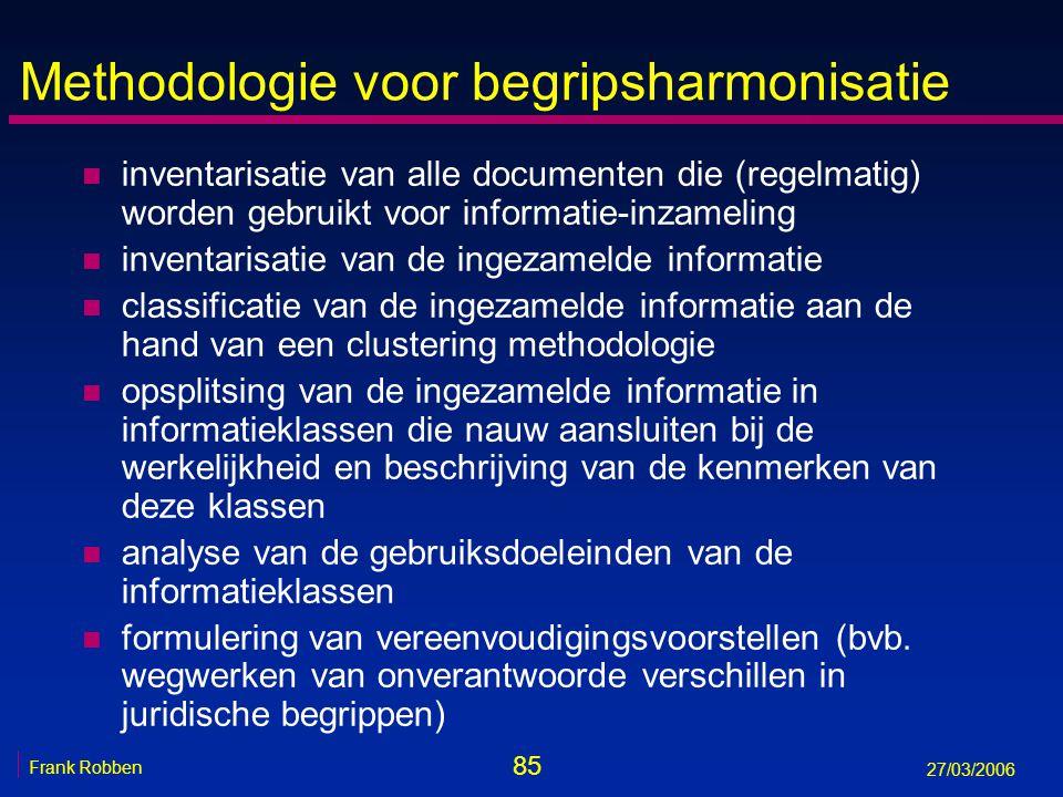 85 Frank Robben 27/03/2006 Methodologie voor begripsharmonisatie n inventarisatie van alle documenten die (regelmatig) worden gebruikt voor informatie