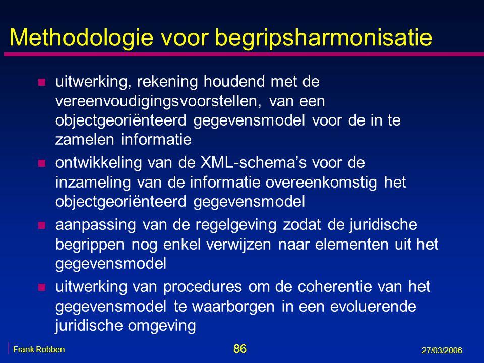 86 Frank Robben 27/03/2006 Methodologie voor begripsharmonisatie n uitwerking, rekening houdend met de vereenvoudigingsvoorstellen, van een objectgeor