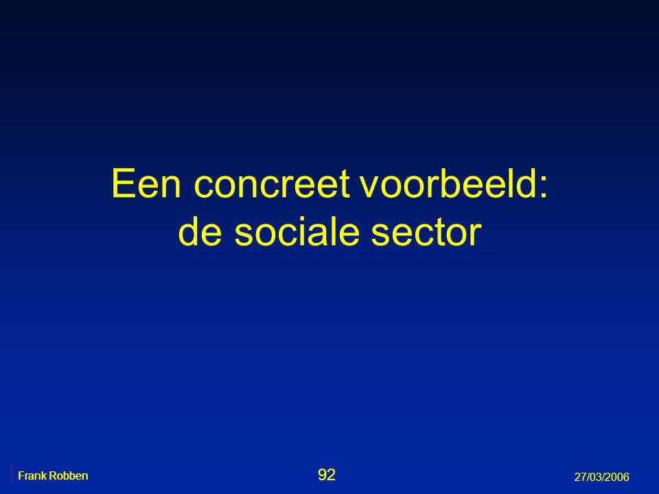 Een concreet voorbeeld: de sociale sector Frank Robben 92 Frank Robben 27/03/2006