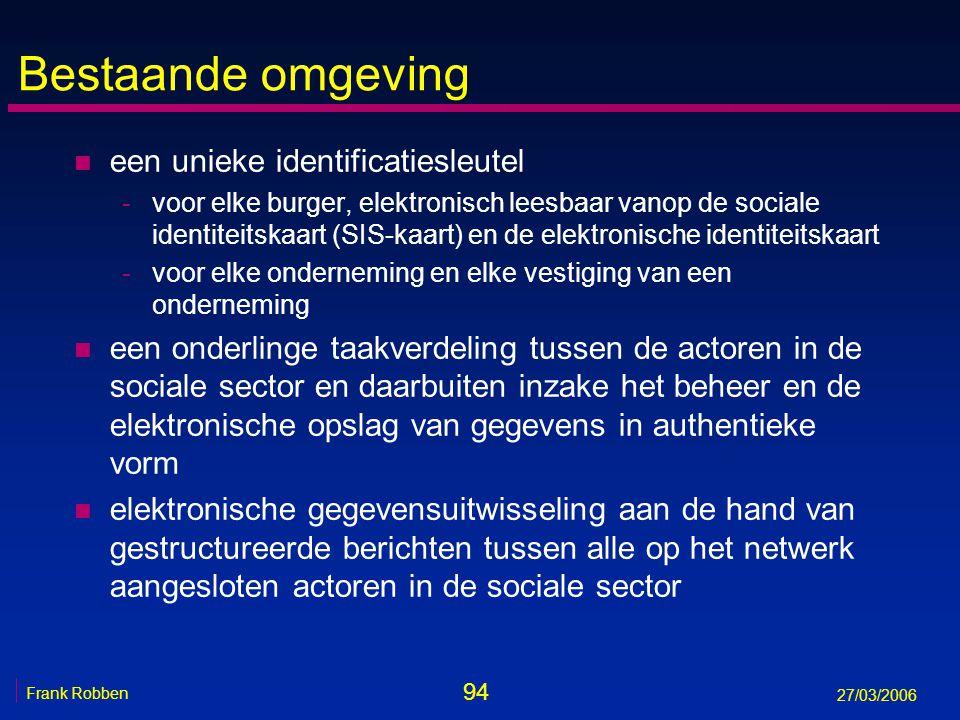 94 Frank Robben 27/03/2006 Bestaande omgeving n een unieke identificatiesleutel -voor elke burger, elektronisch leesbaar vanop de sociale identiteitsk
