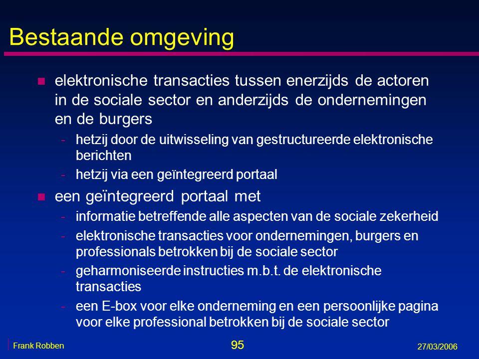 95 Frank Robben 27/03/2006 Bestaande omgeving n elektronische transacties tussen enerzijds de actoren in de sociale sector en anderzijds de ondernemin