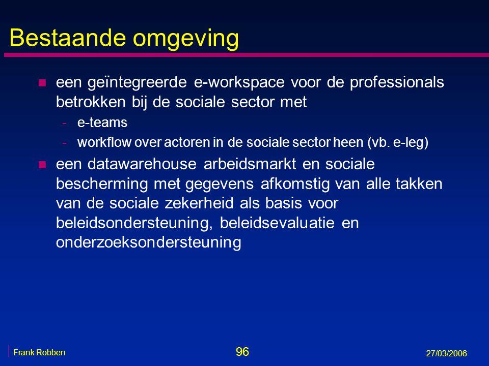 96 Frank Robben 27/03/2006 Bestaande omgeving n een geïntegreerde e-workspace voor de professionals betrokken bij de sociale sector met -e-teams -work