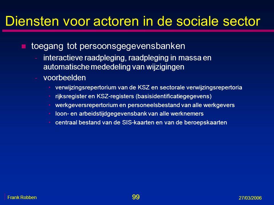 99 Frank Robben 27/03/2006 Diensten voor actoren in de sociale sector n toegang tot persoonsgegevensbanken -interactieve raadpleging, raadpleging in m