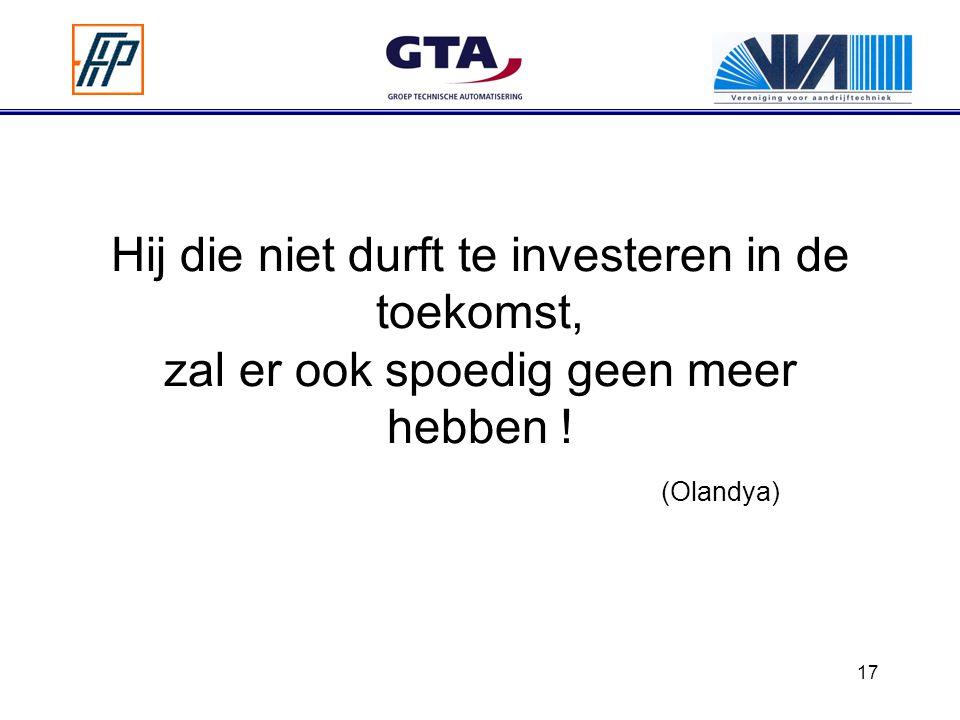 17 Hij die niet durft te investeren in de toekomst, zal er ook spoedig geen meer hebben ! (Olandya)
