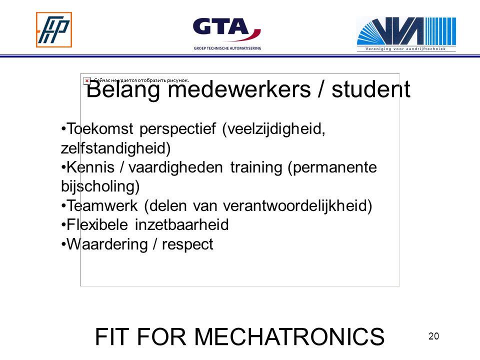 20 Belang medewerkers / student Toekomst perspectief (veelzijdigheid, zelfstandigheid) Kennis / vaardigheden training (permanente bijscholing) Teamwerk (delen van verantwoordelijkheid) Flexibele inzetbaarheid Waardering / respect FIT FOR MECHATRONICS