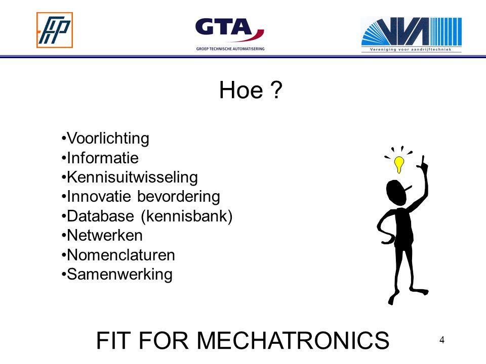 4 Hoe ? Voorlichting Informatie Kennisuitwisseling Innovatie bevordering Database (kennisbank) Netwerken Nomenclaturen Samenwerking FIT FOR MECHATRONI