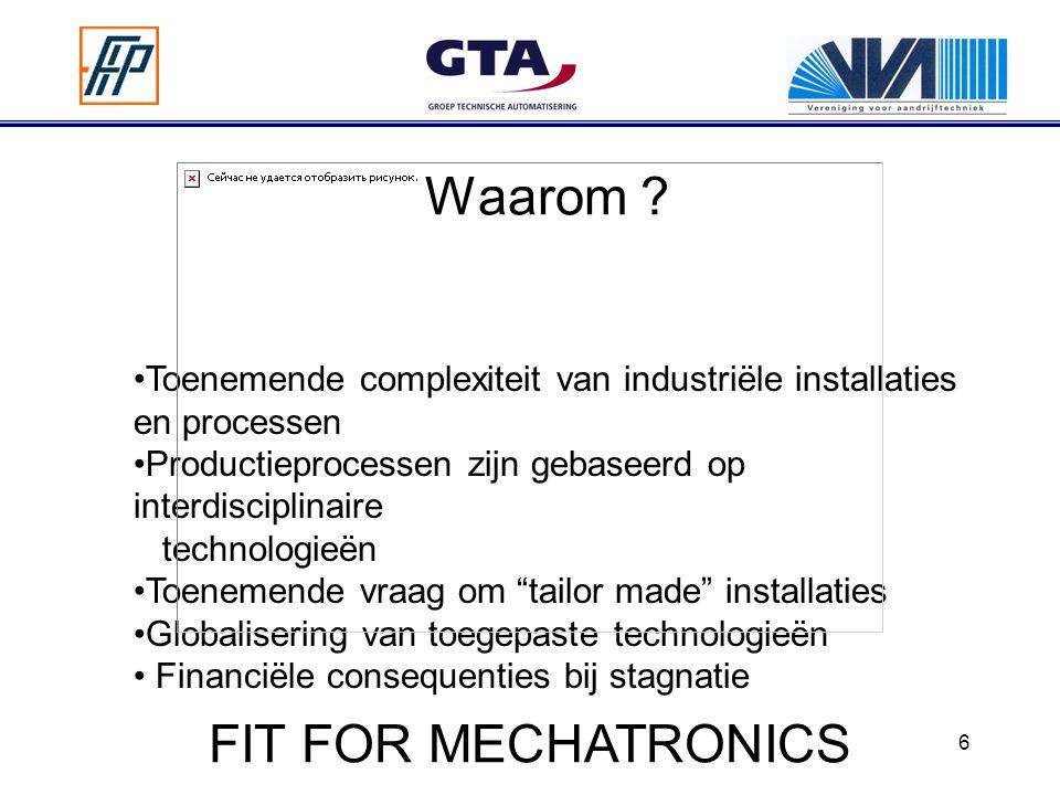 6 Waarom ? Toenemende complexiteit van industriële installaties en processen Productieprocessen zijn gebaseerd op interdisciplinaire technologieën Toe