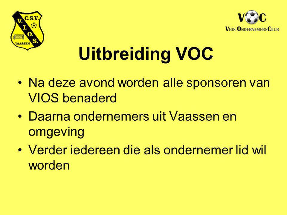 Uitbreiding VOC Na deze avond worden alle sponsoren van VIOS benaderd Daarna ondernemers uit Vaassen en omgeving Verder iedereen die als ondernemer li