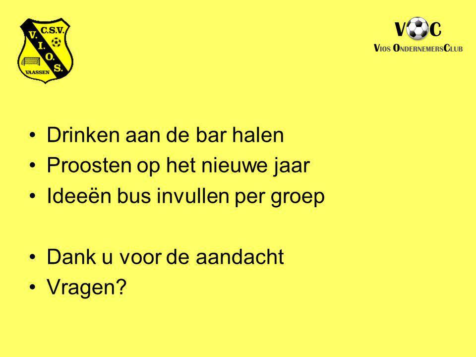 Drinken aan de bar halen Proosten op het nieuwe jaar Ideeën bus invullen per groep Dank u voor de aandacht Vragen?