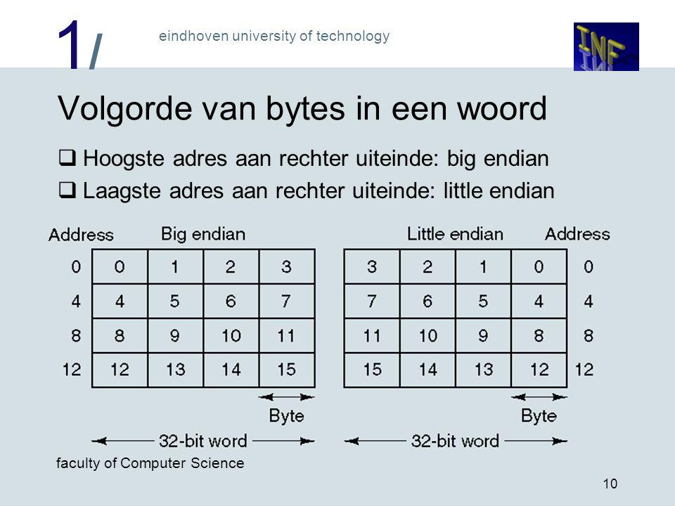 1/1/ eindhoven university of technology faculty of Computer Science 10 Volgorde van bytes in een woord  Hoogste adres aan rechter uiteinde: big endia