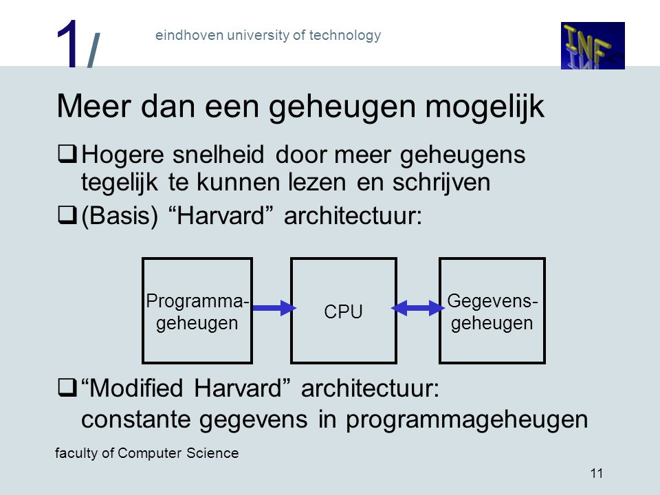 1/1/ eindhoven university of technology faculty of Computer Science 11 Meer dan een geheugen mogelijk  Hogere snelheid door meer geheugens tegelijk t