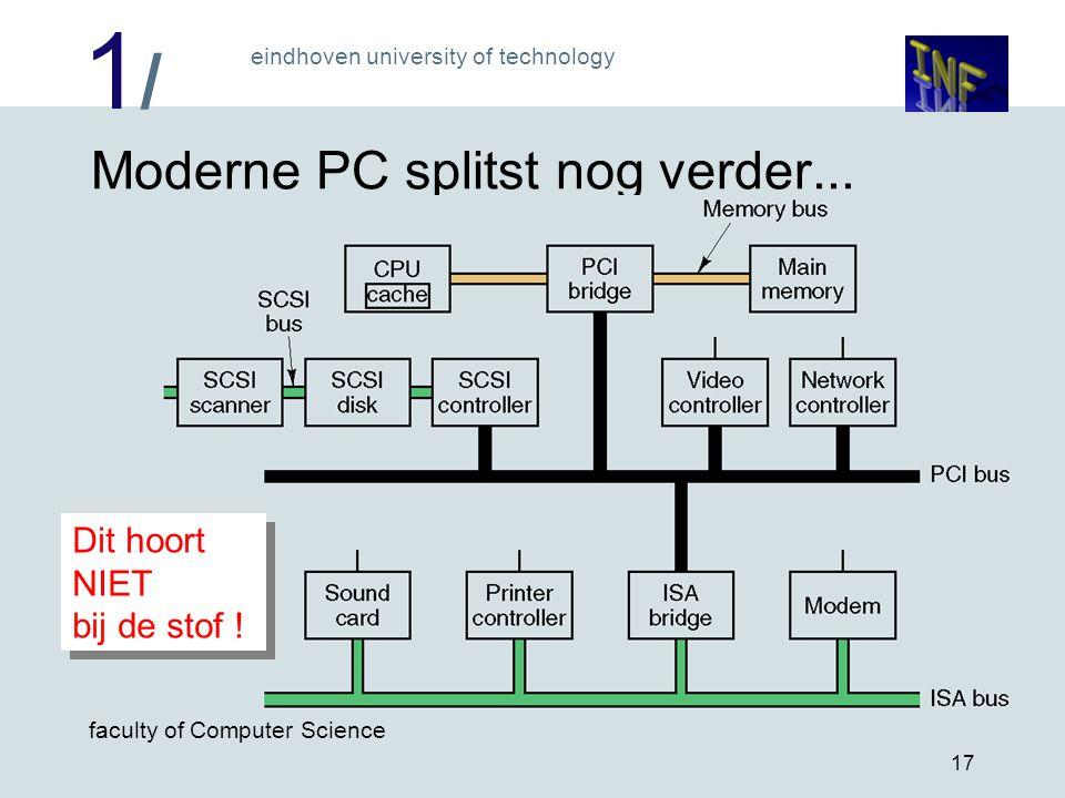1/1/ eindhoven university of technology faculty of Computer Science 17 Moderne PC splitst nog verder... Dit hoort NIET bij de stof !