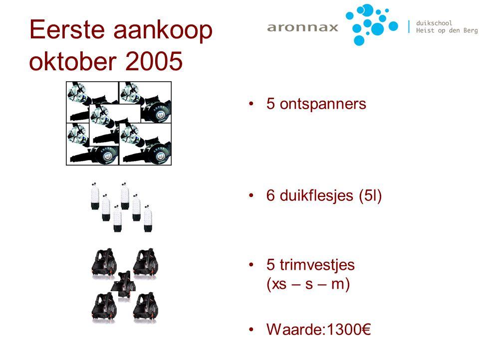 Eerste aankoop oktober 2005 Aronnax is een familiale duikclub met dus een jeugdafdeling De eerste aankoop werd dus het jeugdduikmateriaal