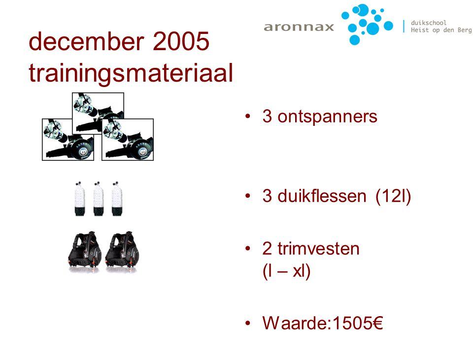 december 2005 trainingsmateriaal Er was ondertussen al wat lidgeld in kas, dus kon er ook wat gekocht worden voor de volwassenen