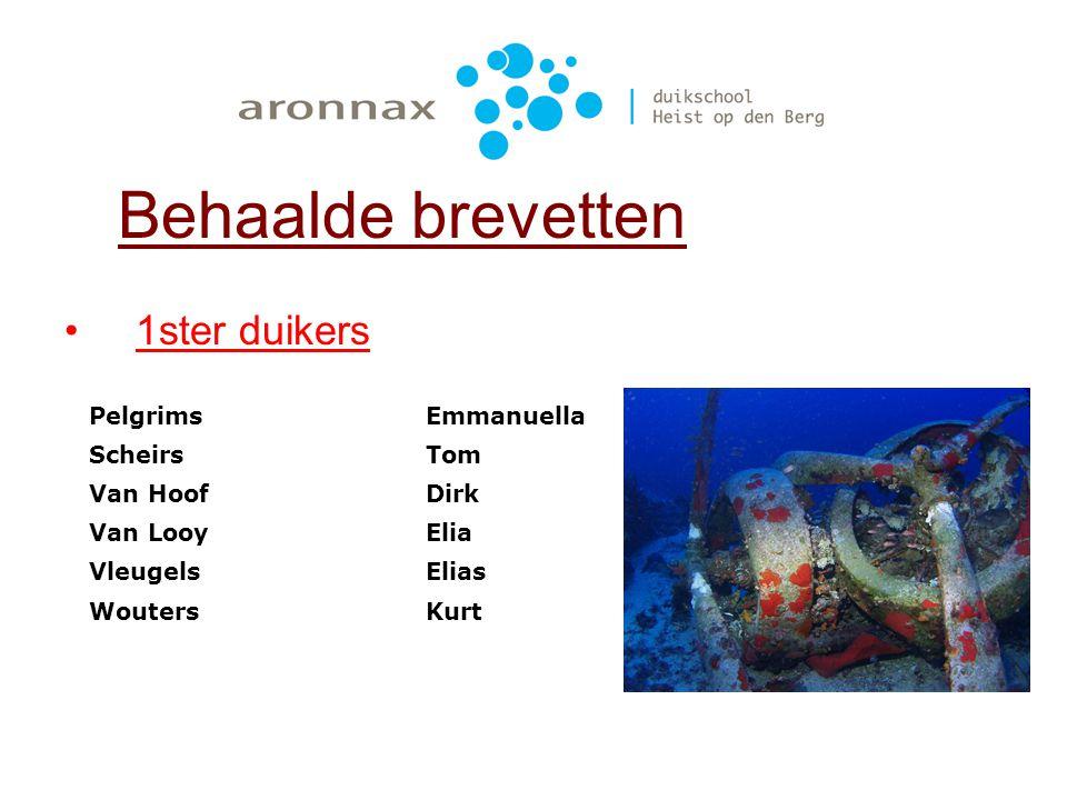 1ster duikers Behaalde brevetten De VoechtKarlien HofmansEvelien FranssenTomas LambrechtsRuben OttenKarin RobberechtsJan Van den BruelSaar Van Den Eyn