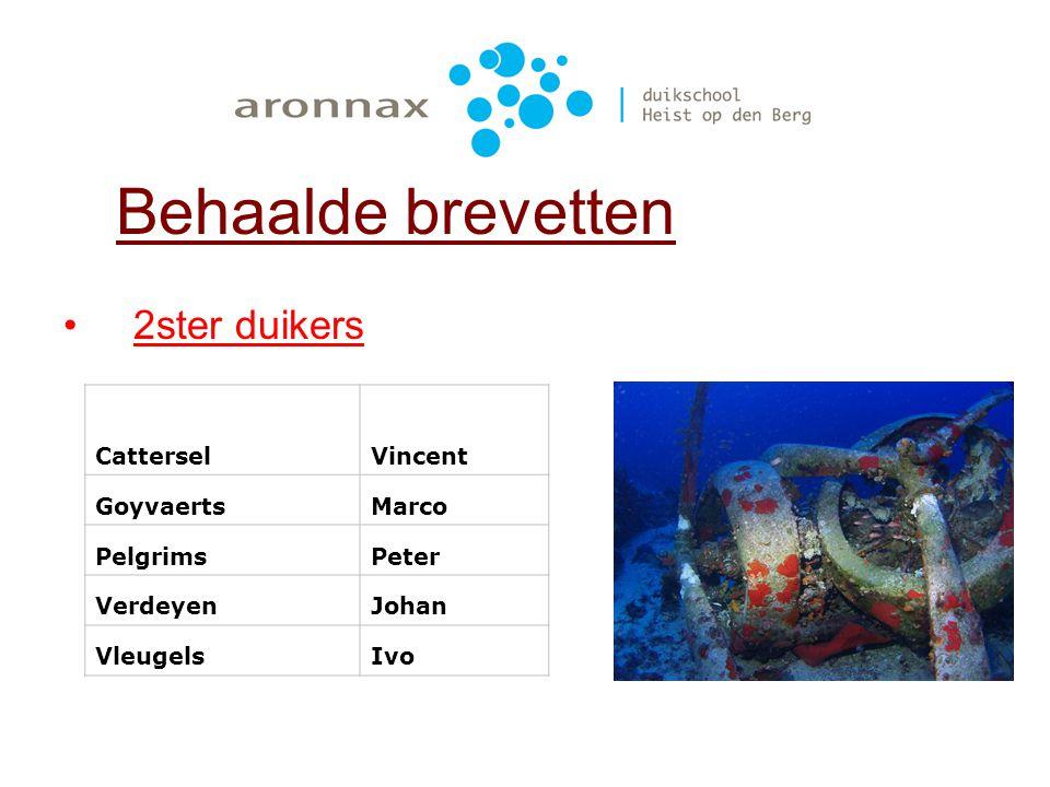 1ster duikers Behaalde brevetten PelgrimsEmmanuella ScheirsTom Van HoofDirk Van LooyElia VleugelsElias WoutersKurt