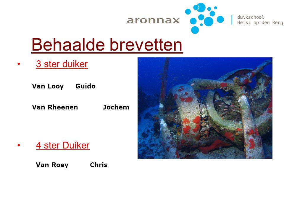 2ster duikers Behaalde brevetten CatterselVincent GoyvaertsMarco PelgrimsPeter VerdeyenJohan VleugelsIvo