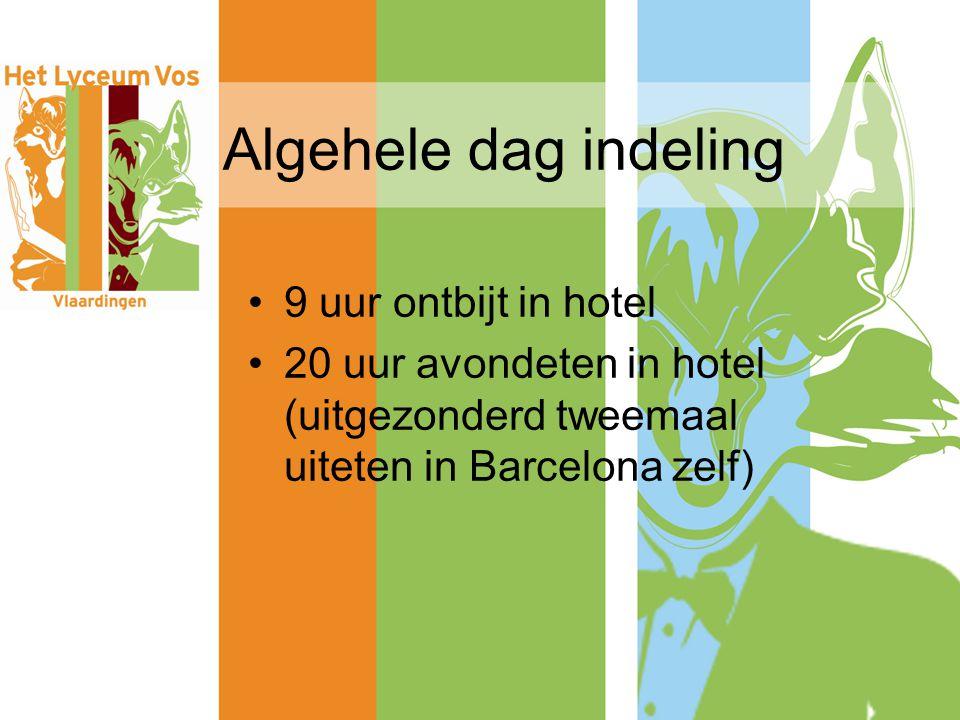 Algehele dag indeling 9 uur ontbijt in hotel 20 uur avondeten in hotel (uitgezonderd tweemaal uiteten in Barcelona zelf)
