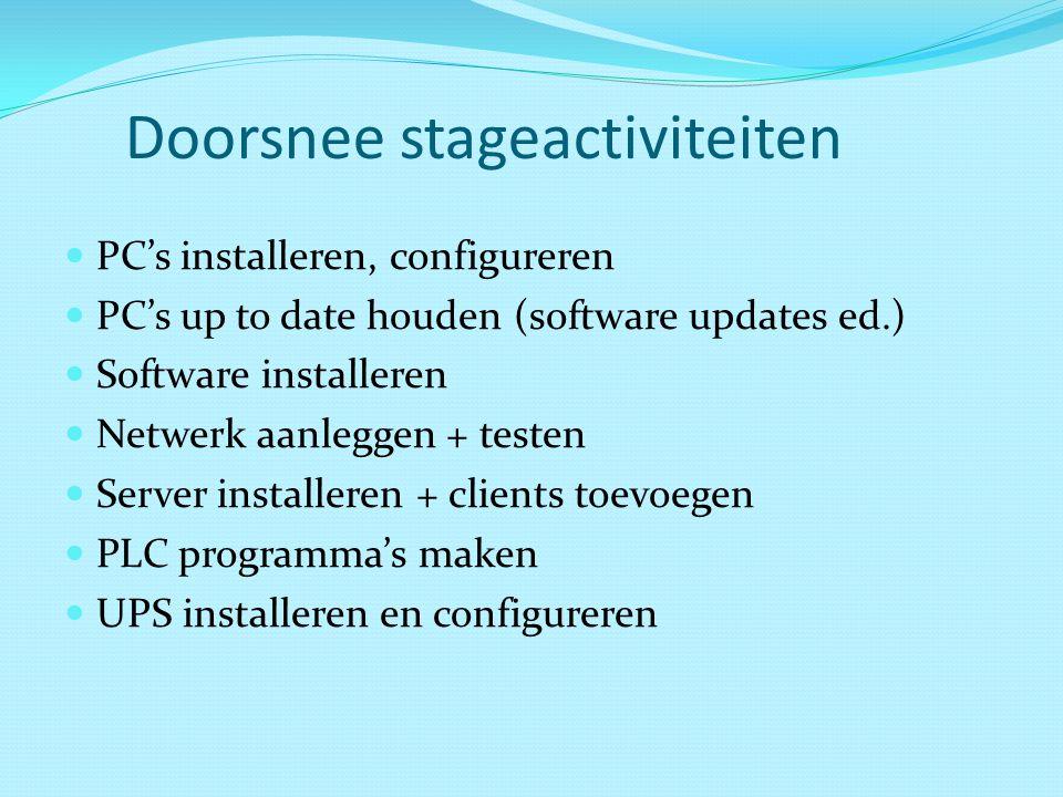 Doorsnee stageactiviteiten PC's installeren, configureren PC's up to date houden (software updates ed.) Software installeren Netwerk aanleggen + teste