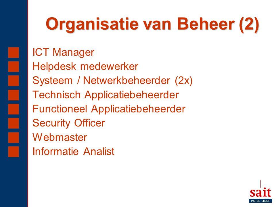 Organisatie van Beheer (2)  ICT Manager  Helpdesk medewerker  Systeem / Netwerkbeheerder (2x)  Technisch Applicatiebeheerder  Functioneel Applica