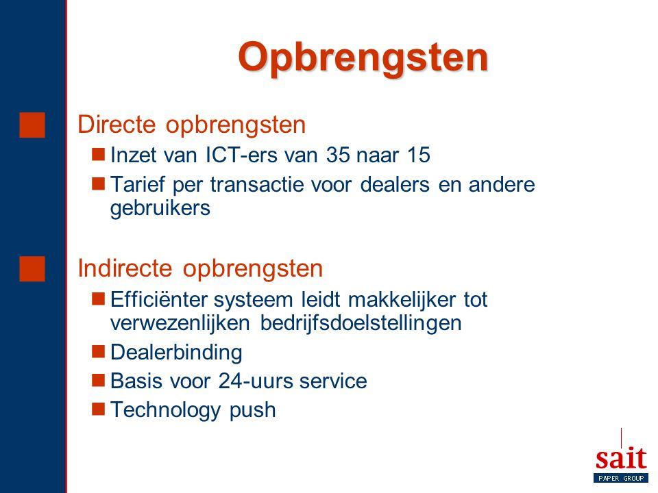 Opbrengsten  Directe opbrengsten Inzet van ICT-ers van 35 naar 15 Tarief per transactie voor dealers en andere gebruikers  Indirecte opbrengsten Eff